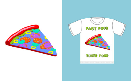 acid colors: Fast food - toxic food. piece pizza in acid colors. Illustration about dangers of fast food. Print on T-shirt