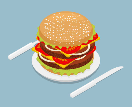 petite: Hamburger isometrics. 3D Fast food on plate. Cutlery fork and knife. Kitchenware. Big Juicy Burger with cheese and vegetarian cutlets. Onions and tomatoes. Petite American Sandwich Illustration