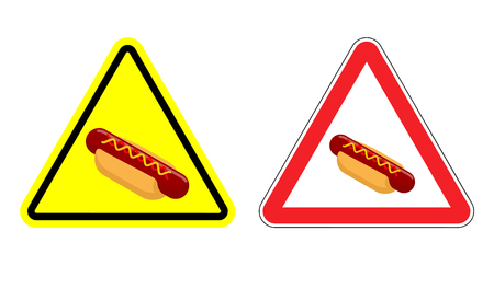 yellow attention: Warning attention hot dog sign . Dangers yellow sign fast food. Bun and sausage with mustard in red triangle. Set of road signs against harmful food