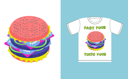 acid colors: Fast food - toxic food. Hamburger in acid colors. Illustration about dangers of fast food. Print on T-shirt. Juicy burger unusual. Pink sandwich with blue cutlets Illustration