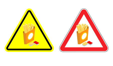 fried potatoes: Warning sign attention French fries. Dangers yellow sign fast food. Slices of fried potatoes in paper box and cheese sauce and ketchup in red triangle. Set of road signs Illustration