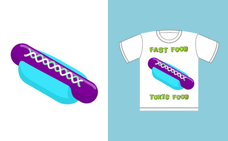hot dog bun: Fast food -  toxic food. Hot dog in acid colors. Illustration about dangers of fast food. Print on T-shirt. Juicy unusual hot dog bun blue and purple sausage Illustration
