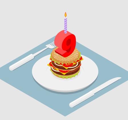 ninth birthday: 9 years birthday burger. Hamburger and candle isometrics. Number nine with candle. fast food Anniversary Celebration. Fresh sandwich with cutlet and cheese. Cheerful celebration