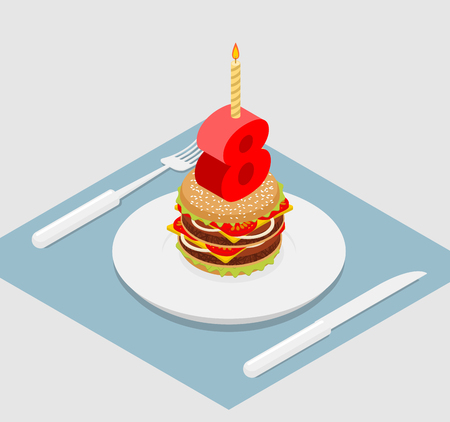 8 years birthday: Birthday 8 years old burger. Hamburger and candle isometrics. Figure eight with candle. fast food Anniversary Celebration. Fresh sandwich with cutlet and cheese. Cheerful celebration Illustration