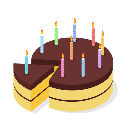 chocolate brownie: Chocolate cake birthday. Festive candles on pie. Piece of celebratory cake isometrics. 3D delicious confection