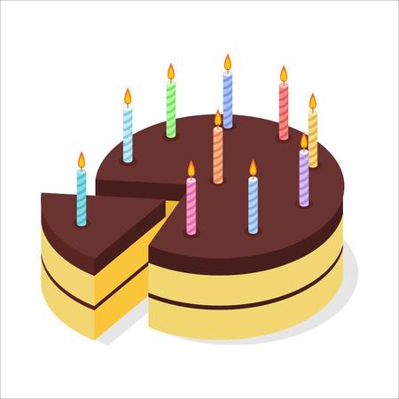 porcion de pastel: cumpleaños de la torta de chocolate. velas festivas en el pastel. Pedazo de pastel de celebración isométricos. 3D dulce exquisito