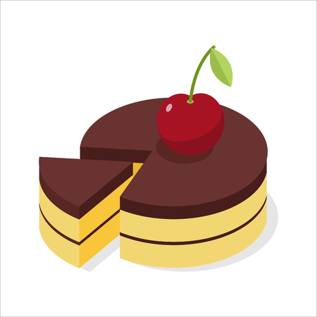 gateau: Chocolate cake with fresh cherries. Piece of celebratory pie isometrics. 3D delicious confection Illustration