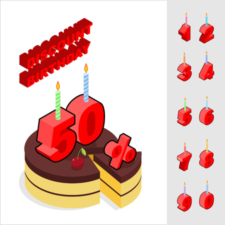 reducing: Discounts for birthday. Chocolate Cake and Candles and figures for sales. Piece of cake and cherry. Reducing cost of ake on day of birth. Dessert and set of isometric numbers