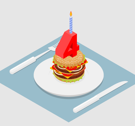 delectable: 4 years birthday burger. Number four with candle. Burger anniversary celebration. Festive fast food. Happy holiday birthday Illustration