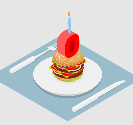 delectable: zero holiday burger. Zero with andle. Burger anniversary celebration. Festive fast food. Happy holiday birthday Illustration