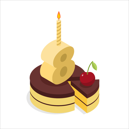 torte: 8 years old birthday cake isometrics. Figure eight with candle. Celebration of anniversary cake. Piece of festive chocolate cake and cherry. Fun party Illustration