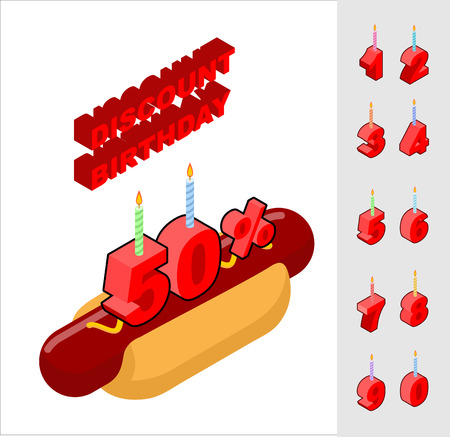 reducing: Discounts for birthday when buying hot dog. Candles and figures for sales. Reducing cost of fast food on day of birth. Bun with sausage and mustard and set isometric rooms Illustration