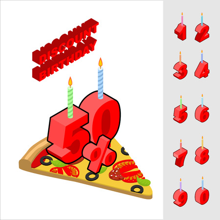 reducing: Discounts for birthday when buying pizza. Candles and figures for sales. Reducing cost of fast food on day of birth. Pizza and set of isometric numeral Illustration