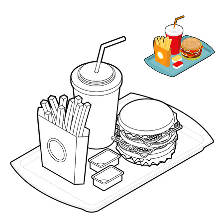 Fast food coloring book. Food in linear style. Big fresh hamburger. Delicious Frying potatoes. Cold drink Red disposable paper cup with straw. Cheese sauce