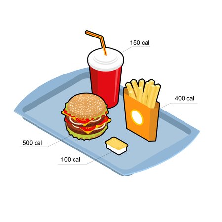 calories: Fast food set. Calorie dishes. Big fresh hamburger. Delicious Frying potatoes. Cold drink Red disposable paper cup with straw. Cheese sauce. harmful food Illustration