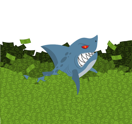 windfall: Business shark. Marine predator swimming in money. Green Wave dollars. Sea of ??cash. Toothy fish and money. Ocean Finance. Wealth Illustration