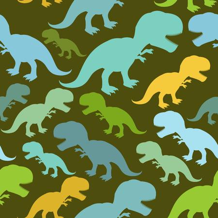 Dinosaur seamless pattern. Dino texture. Tyrannosaurus Rex Ornament. Prehistoric reptile pattern. Animal Jurassic with big teeth. Aggressive beast. Terrible evil lizard Polynesian era texture Vector Illustration