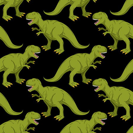 paleontology: Tyrannosaurus seamless pattern. Angry prehistoric reptile pattern. Ancient animal predator background. Aggressive Raptor Jurassic period. Paleontology texture for baby cloth. evil Dino