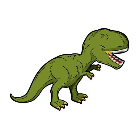 Dinosaur Tyrannosaurus Rex. Prehistoric reptile. Ancient predator. Animal Jurassic with big teeth. Aggressive beast. Terrible, angry lizard Polynesian era. green gigantic monster