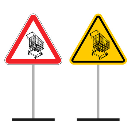 dangers: Warning sign of attention shopping cart. Dangers yellow sign Empty shopping trolley. Supermarket shopping in  red triangle. Set of road signs Illustration