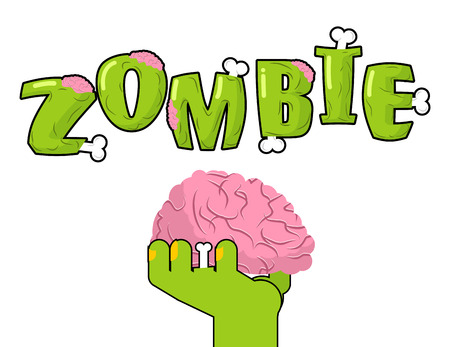 corpse: Zombie lettering. Bones and brains. Living dead typography. Green terrible letter. Terrible evil text. Scary set of letters