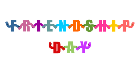 Friendship Day logo. International holiday sign. Letters holding hands. Handshake typography. Friendship text on white background Vettoriali