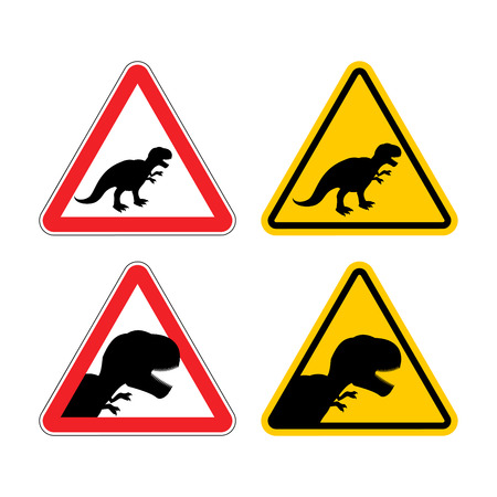 Warning sign of attention dinosaur. Dangers yellow sign Tyrannosaurus Rex. Prehistoric monster lizard in red triangle. Set of road signs