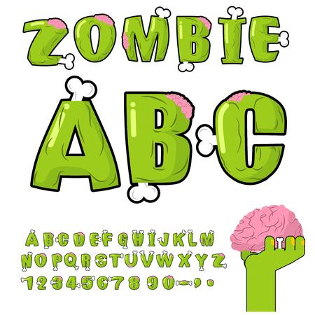 Zombie ABC. Bones and brains. horror monstr font. Living dead alphabet. Green terrible letter. Sinister lettring. Scary set of letters