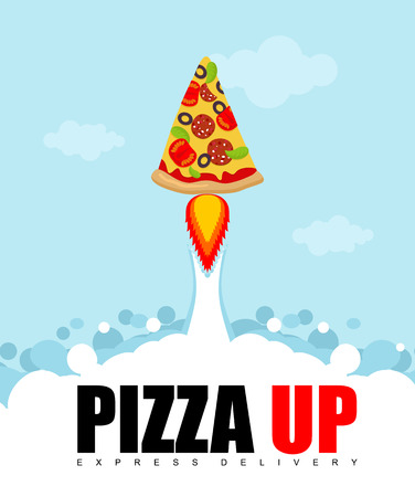 fast shipping: Pizza Up logo for pizza delivery. Fast shipping Fast food. Pizza rocket flies upwards. Illustration