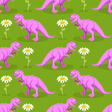 predator: Dinosaur and flower seamless pattern. Pink Tyrannosaurus and camomile texture. Prehistoric predator on green meadow background. Ancient reptile and white flower Illustration
