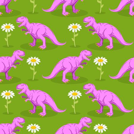 lizard in field: Dinosaurio y sin fisuras patrón de flores. Pink Tyrannosaurus y la textura de la manzanilla. depredadores prehistóricos en el fondo del prado verde. reptil antiguo y flor blanca Vectores