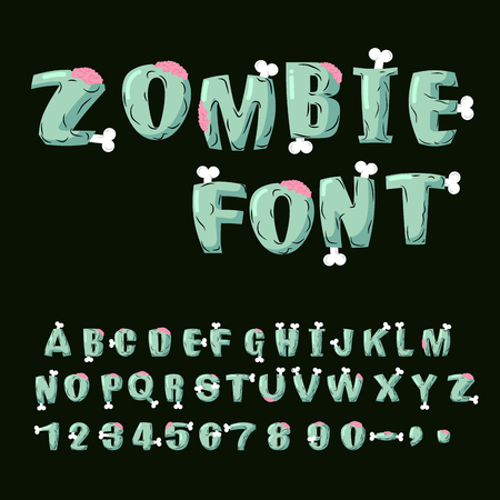 Zombie font. Bones and brains. Living dead alphabet. Green terrible letter. horror ABC. Sinister lettring. Scary set of letters