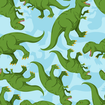 Dinosaur seamless pattern. Dino texture. Tyrannosaurus Rex Ornament. Prehistoric reptile pattern. Animal Jurassic with big teeth. Aggressive beast. Terrible evil lizard Polynesian era texture Ilustracja