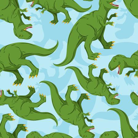 Dinosaur seamless pattern. Dino texture. Tyrannosaurus Rex Ornament. Prehistoric reptile pattern. Animal Jurassic with big teeth. Aggressive beast. Terrible evil lizard Polynesian era texture Illustration