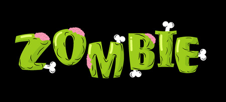 Zombie lettering. Bones and brains. Living dead typography. Green terrible letter. Terrible evil text. Scary set of letters