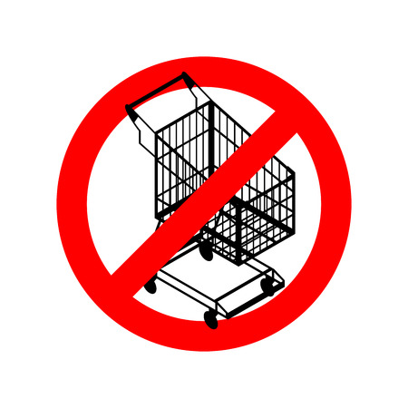 strikethrough: Stop shopping cart. Prohibited shopping trolley. Strikethrough supermarket buying. Emblem against buyers. Red prohibition sign. Ban sale