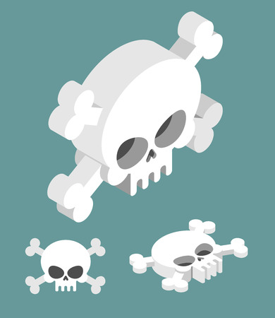 macabre: Skull isometric set. Head of skeleton and crossbones Illustration