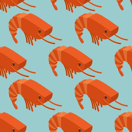 plancton: Camarones isom�trica sin fisuras patr�n. ornamento del plancton marino. artr�podos acu�ticos Textura animal. Fondo subacu�tico de crust�ceos