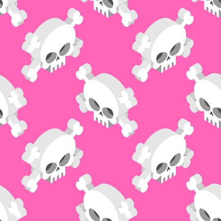 remains: Isometric Skull seamless pattern. Head skeletal pattern. Crossbones texture. remains background Illustration