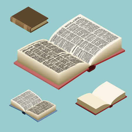 hard cover: Book isometric set. Open volume isolated. Ancient text. old edition in Hard Cover