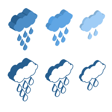 meteo: Cloud Isometric icon for Meteo applications. Weather rain. Illustration