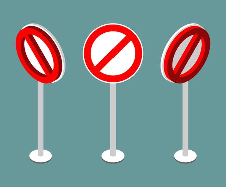 prohibition: Panneau Stop isométrie. Interdiction signe de route