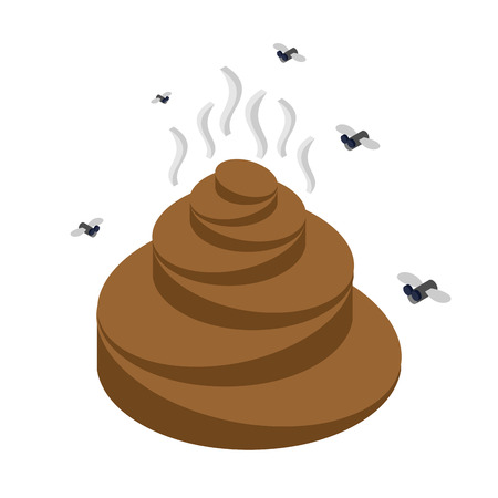 feces: Turd isometrics. Flies and shit. Offensive feces on white background