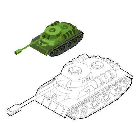 tracked: Tank coloring book. Army equipment in linear style. Armored fighting vehicles, tracked with gun and machine gun