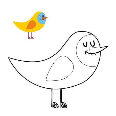fowl: Funny bird coloring book. comical fowl in linear style