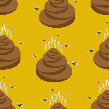 feces: Shit isometric seamless pattern. Turd and fly texture. Stools ornament. feces and stench background. Poop