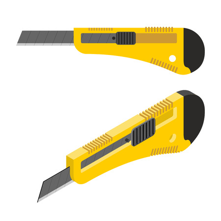 cutter: Stationery knife isometrics. Office paper cutter