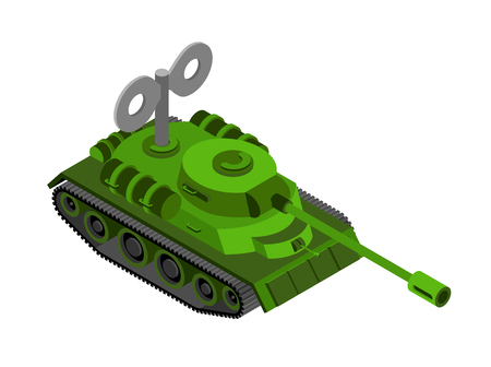 turret: Toy Tank Isometric on white background. Military machine clockwork plaything