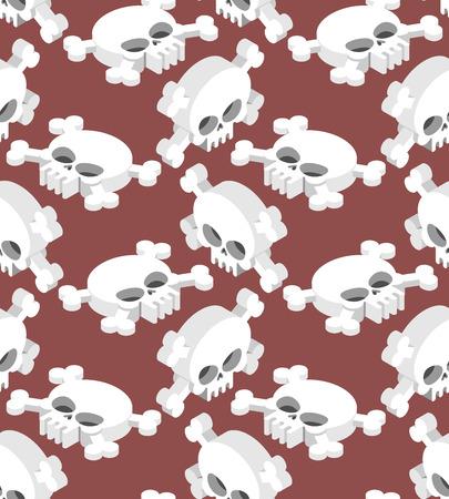 macabre: Isometric Skull seamless pattern. Head skeletal pattern. Crossbones texture. remains background Illustration