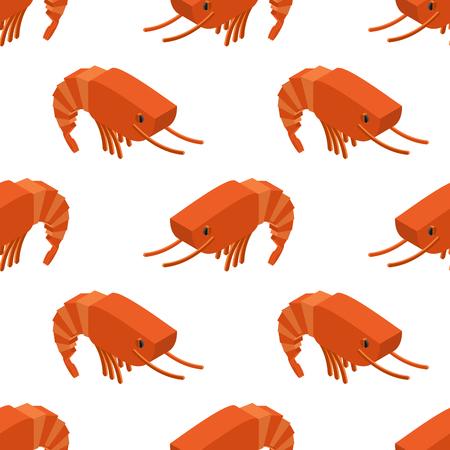 plancton: Camarones isométrica sin fisuras patrón. ornamento del plancton marino. artrópodos acuáticos Textura animal. Fondo subacuático de crustáceos